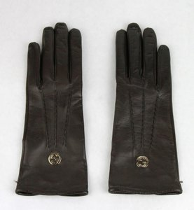 Gucci Dark Brown Leather Gloves With Gold Interlocking G 7.5 354372 2140