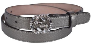 Gucci New Gucci Women's Metallic Grey Leather Swarovski Crystal Belt 32/80