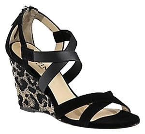 Aquatalia by Marvin K. Nappa Leather Suede black and Leopard print Wedges