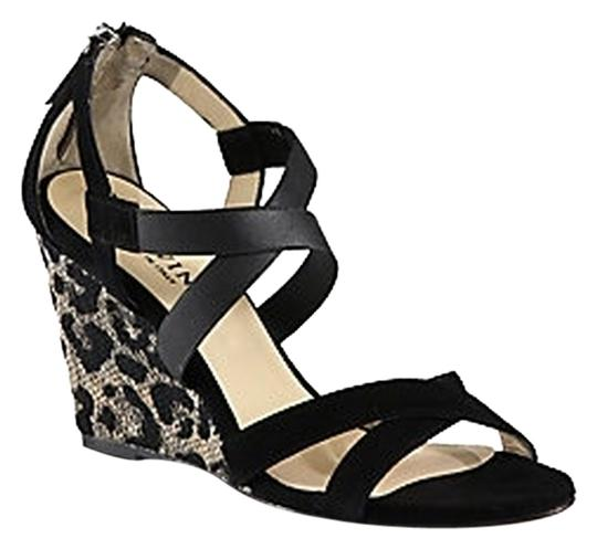 Aquatalia Nappa Leather Suede Leather Sole Made In Italy black and Leopard print Wedges