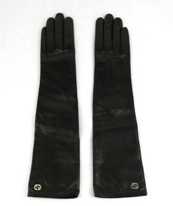 Gucci Black W Leather Arm Length W/Large Gold Interlocking G 6.5 323028 Gloves