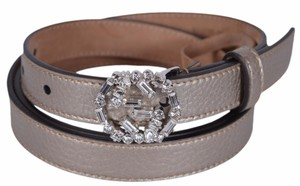 Gucci New Gucci Women's Golden Beige Leather Swarovski Crystal GG Belt 28 70