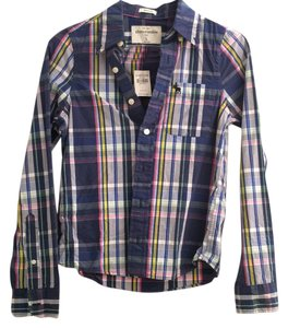 Abercrombie & Fitch Button Down Shirt blue, pink, yellow, white, purple