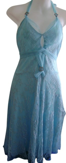 Item - Blue Party Cocktail Girls Prom Date Knee Length Night Out Dress Size 10 (M)