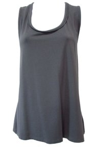 Talbots Casual Comfortable Basic Classic Scoop Neck Top Charcoal