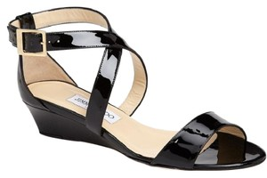 Jimmy Choo Chiara Strappy Wedge Low Heel Patent Black Sandals