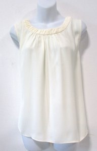 Talbots Casual Comfortable Flowy Shirred Scoop Neck Top Cream