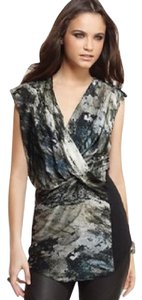 Helmut Lang Silk Crossover Abstract Top Green