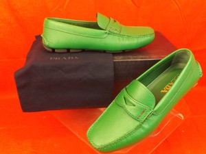 Prada Green Mens Textured Leather Moccasins Driving Loafers 5.5 Us 6.5 Shoes