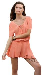 c02dd8e9ef95 Elan Coral With Lace Up Neck Romper Jumpsuit - Tradesy