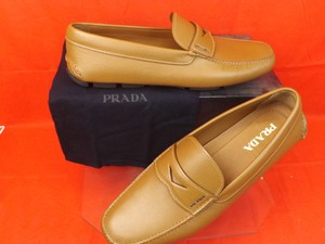 Prada Brown Mens Textured Leather Moccasins Driving Loafers 5.5 Us 6.5 Shoes
