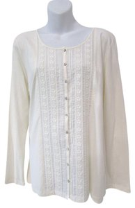 J. Jill Long Sleeve Scoop Neck Button Down Casual Lace Top Cream