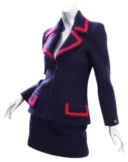 Item - Navy 97a Wool Zip Up Fitted Outfit Skirt Suit Size 4 (S)