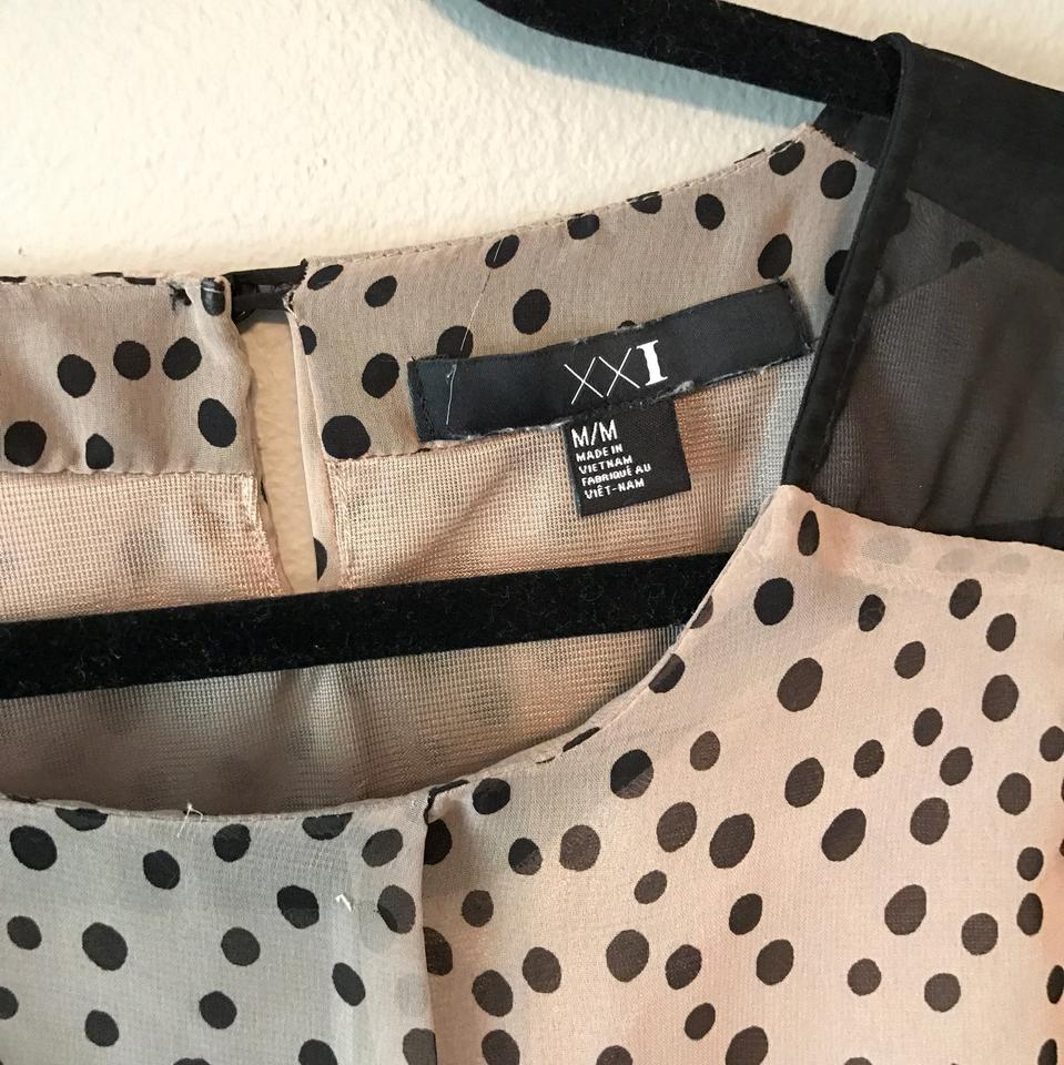 forever 21 taupe and black printed chiffon top on tradesy