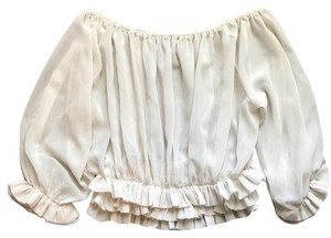 Anthropologie Bell Sleeve Ruffle Chiffon Vintage Top ivory