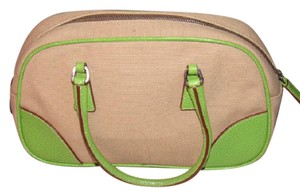 Prada Accents Mint Vintage Great For Everyday High-end Bohemian Satchel in dark khaki canvas & lime green leather