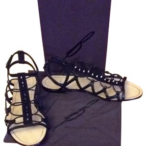 B Brian Atwood Leather Sole Leather Upper Leather black Sandals