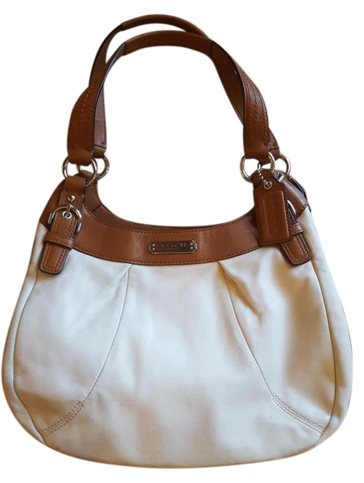 6271911625 Coach Summer Purse Cream and Tan Leather Shoulder Bag - Tradesy
