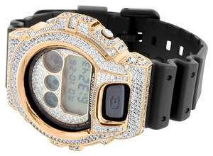 G-Shock G-Shock Watch Rose Gold Finish Mens Lab Diamond Black Silicone Band