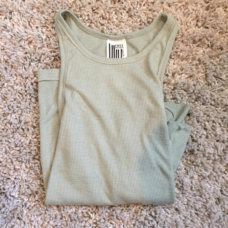 2c5d9f48cde0a Free People Green Long Beach Ribbed Tank Top Cami Size 6 (S) - Tradesy