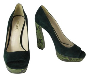 Prada Python Snakeskin Leather Nubuck Green Pumps