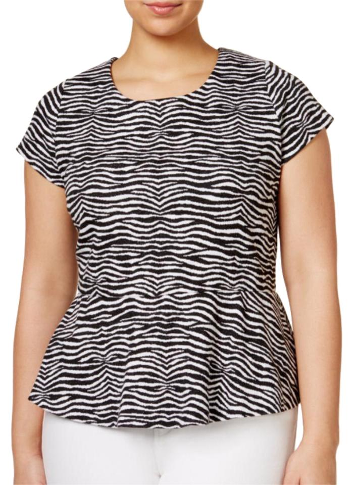 caaa9cdfba0 Michael Kors Black White And Zebra Peplum Blouse Size 20 (Plus 1x ...