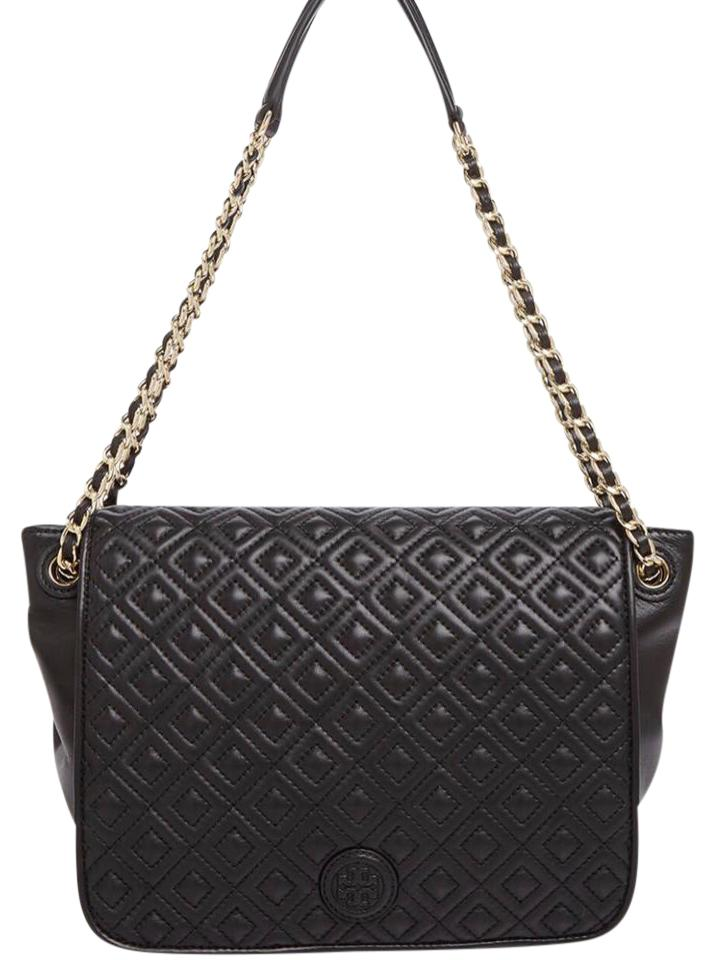 7d5ab3f17fd7 Tory Burch Marion Quilted Black Leather Shoulder Bag - Tradesy