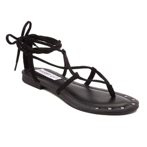 Madden Girl Studded Leather Suede Black Sandals