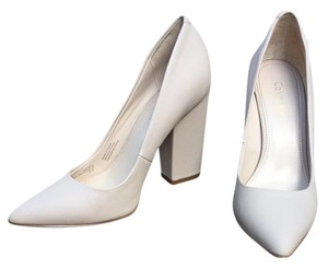 Calvin Klein Leather Pointed Toe Block Heel Chunky Nude Pumps