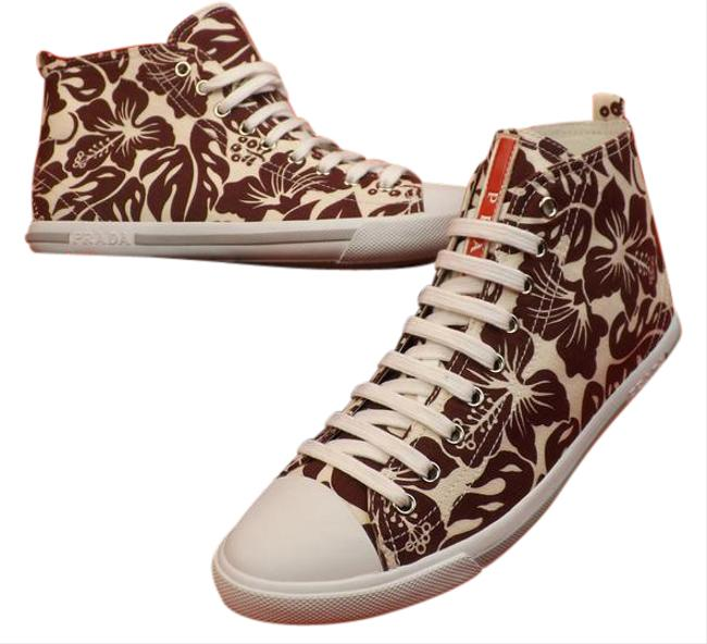 Item - Brown 3t5731 White Burgundy Floral Denim Canvas Hi Top 10 Sneakers Size EU 40 (Approx. US 10) Regular (M, B)