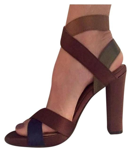Item - Brown Blue and Green Block Colors Sexy Satin Pumps Size US 6 Wide (C, D)