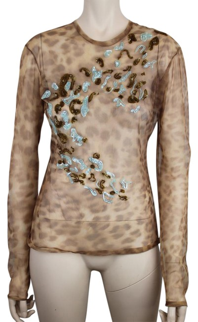 Item - Brown Blue Gold Leopard Print Sheer Mesh & Beading Blouse Size 6 (S)