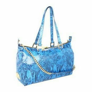 Juicy Couture Leather Embossed Satchel in Lapis Blue
