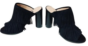 French Connection Leather Fringe Black Mules