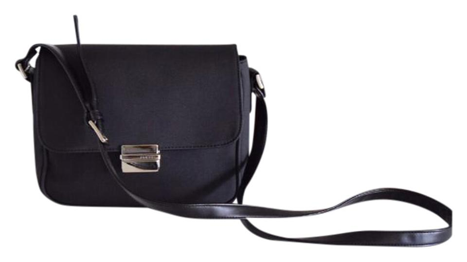 Guess Black Navy Blue Canvas and Leather Cross Body Bag - Tradesy 223a5ed01191b