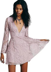 Free People Embroidered Sheer Flowy V-neck Longsleeve Dress