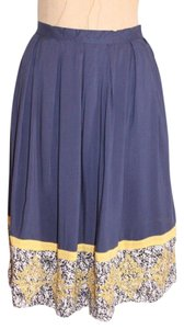 Anthropologie Hazel Pleated Embroidered Contrast Skirt BLUE