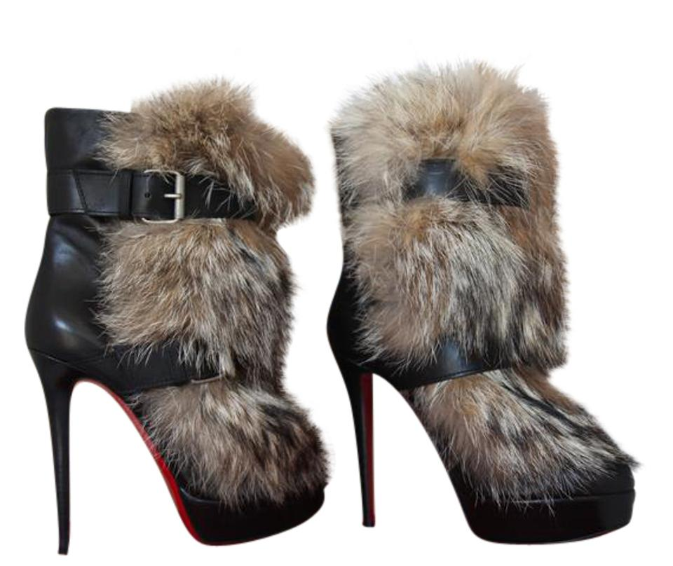 quality design 69ff0 7b1ae Christian Louboutin Black New Toundra Daf Platform High Heel Lady Red Sole  Toe Fur Leather Ankle Boots/Booties Size EU 41 (Approx. US 11) Regular (M,  ...