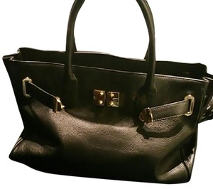 Onna Ehrlich Leather Tote Gold Hardware Satchel in Black