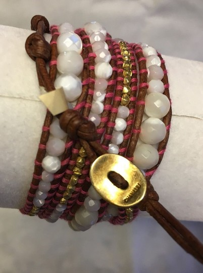 Chan Luu New Auth Chan Luu Graduated Mother of Pearl Gold Nugget Leather Wrap B