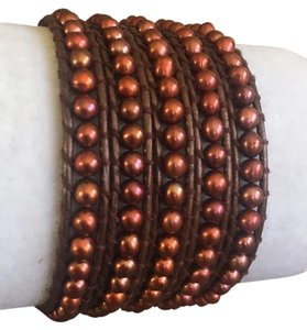 Chan Luu New Auth Chan Luu Bronze Pearl Five Wrap Bracelet on Metallic Leather