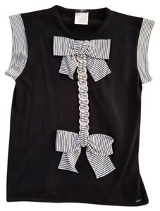 CHANEL Cashmere Bow Silver Double Bow Top Black