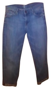 7 For All Mankind Cropped Light Wash 28 Capri/Cropped Denim-Light Wash