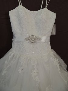 White Organza Ballgown Traditional Wedding Dress Size 4 (S)