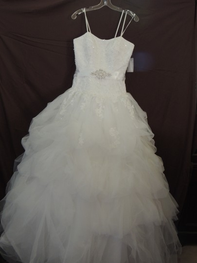 White Organza Ballgown Traditional Wedding Dress Size 4 (S) Image 1