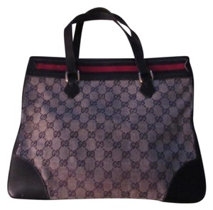 Gucci Great For Everyday Early Excellent Vintage High-end Bohemian Rare Style Tote in navy leather & large G logo print canvas in blue with red/blue striped top