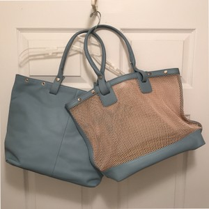 Levenger Purse Handbag Shoulder Beach Mesh Tote in Blue Beige