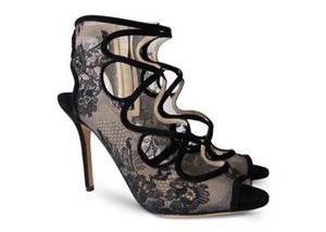 Jimmy Choo Designer Classic Jalislo Lace And Suede Sandals