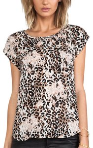 Joie Silk Short Sleeve Print Top Leopard