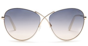 Tom Ford Tom Ford Women's Shiny White Plastic and Metal Rosie Glam Sunglasses
